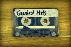 Audio cassette tape: Greatest Hits. Vintage audio cassette tape with the description: Greatest Hits stock image