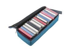Vintage Audio Cassette Travel Case. Vintage audio cassette tape travel case isolated with clipping path stock images