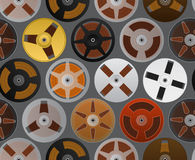 Vintage audio cassettes background. Vintage analogue music recordable babin. seamless background Stock Photos