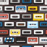 Vintage audio cassettes background. Vintage audio cassettes seamless background Stock Photo