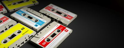 Vintage audio cassettes on black background, banner, copy space. 3d illustration. 1970s-1980s party music. Vintage audio cassettes on black background, banner vector illustration