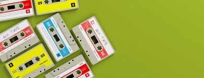 Vintage audio cassettes on bright green background, banner, copy space. 3d illustration. 1970s-1980s party music. Vintage audio cassettes on bright green stock illustration