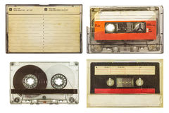 Vintage audio compact cassettes isolated on white Royalty Free Stock Images