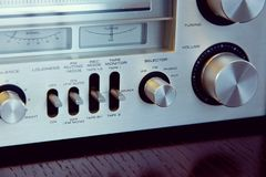 Vintage Audio Stereo Receiver Front Panel Controls. Vintage Audio Stereo Receiver Front Panel royalty free stock photos