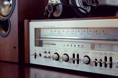 Vintage Audio Stereo Receiver Front Panel. With speaker and headphone royalty free stock photo