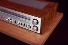 Vintage Audio Stereo Receiver Front Panel. And Top Grill stock photos