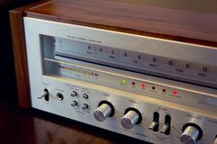 Vintage Audio Stereo Receiver Front Panel. Side view stock images