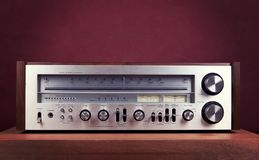 Vintage Audio Stereo Receiver Front Panel. Vintage Audio Stereo Receiver Shiny Metal Front Panel stock photos
