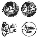 Vintage audio store emplems. Music shop, recording studio, karaoke club set of four vector monochrome labels, badges, emblems and logos in vintage style stock illustration