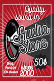 Vintage audio store poster. Music studio, radio and shop labels with sample text. Music icons for audio store, recording studio label, podcast and radio Stock Illustration