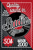 Vintage audio store poster. Music studio, radio and shop labels with sample text. Music icons for audio store, recording studio label, podcast and radio Vector Illustration