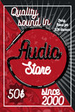 Vintage audio store poster. Music studio, radio and shop labels with sample text. Music icons for audio store, recording studio label, podcast and radio Royalty Free Illustration