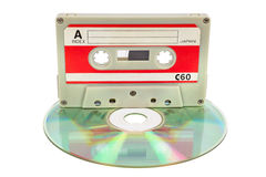 Vintage audio tape on CD Royalty Free Stock Photography