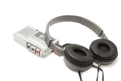 Vintage audiotape  recorder and headphone Stock Images