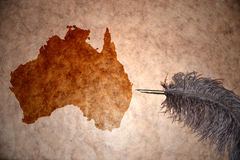 Vintage Australia map. Australia map on vintage paper with old pen Stock Photography