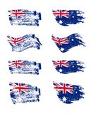 Vintage Australian flag set. Vector Australian flags on grunge texture. Vintage Australian flag set. Vector Australian flags on grunge texture Stock Photos