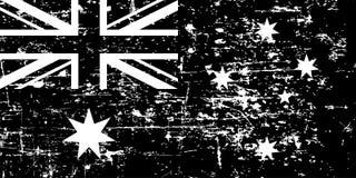 Free Vintage Australian Grunge Flag, Black Isolated On White Background, Vector Illustration. Royalty Free Stock Images - 134340349
