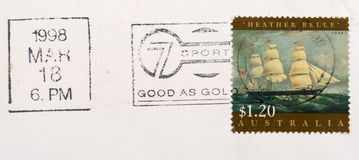 Vintage Australian postage stamp. On white background Royalty Free Stock Photography