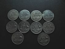 Vintage Australian Silver Coins. Vintage Australian silver Sixpence coin Royalty Free Stock Photography