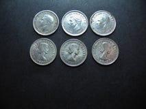 Vintage Australian Silver Coins. Stock Photos