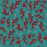 Authentic red leaves pattern on green background. Vintage, authentic, and ornate pattern for brand who has authentic style. Repeated pattern. Ornament graphic stock illustration