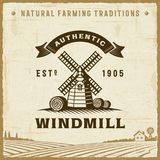 Vintage Authentic Windmill Label Royalty Free Stock Photo