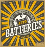 Vintage auto batteries tin sign design. Retro background for car service or car parts shop. Vector decoration old fashioned print layout Royalty Free Stock Photos