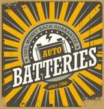 Vintage auto batteries tin sign design Royalty Free Stock Photos