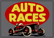Vintage auto races poster Stock Photography