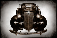 Vintage automobile. Front of a black vintage automobile Royalty Free Stock Photography