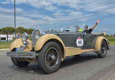 Vintage automobile racing the mille miglia race Royalty Free Stock Image