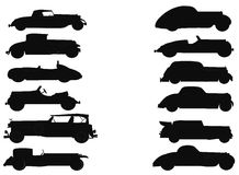 Vintage Autos In Silhouette Collection Over White Royalty Free Stock Photo