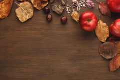 Vintage autumn border from apples and leaves on wooden table. Vintage autumn border from apples, chestnuts and fallen leaves on old wooden table with copy space stock images