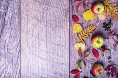 Vintage autumn border from fallen leaves and fruits on the old wooden table. Thanksgiving autumn background Stock Photo