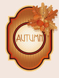 Vintage autumn card with acorns and oak leaves Stock Images