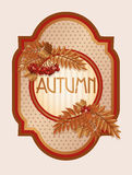 Vintage autumn card with rowan berry leaves Stock Photography