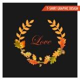 Vintage Autumn Floral Graphic Design - para la tarjeta, camiseta, moda Foto de archivo