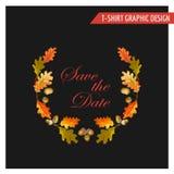 Vintage Autumn Floral Graphic Design - para la tarjeta, camiseta, moda Imagen de archivo