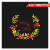 Vintage Autumn Floral Graphic Design - pour la carte, T-shirt, mode Photographie stock