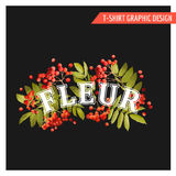 Vintage Autumn Floral Graphic Design - pour le T-shirt, mode Photo libre de droits