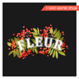 Vintage Autumn Floral Graphic Design - for T-shirt, Fashion Royalty Free Stock Image