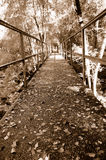 Vintage Autumn Footbridge Royalty Free Stock Photo