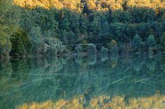 Vintage autumn forest and lake Royalty Free Stock Photography