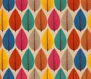 Vintage autumn leaves seamless pattern background.