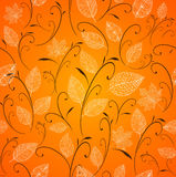 Vintage autumn leaves seamless pattern background. Vintage style autumn tree leaves seamless pattern orange background. EPS10 vector file with transparency Royalty Free Stock Photos