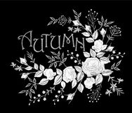 Vintage autumn lettering flower white lace rose arrangement. Embroidery floral fashion decoration patch. Fall season t. Skirt design black background vector stock illustration
