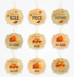 Vintage autumn sale labels and badges collection with autumn leaves. Royalty Free Stock Images