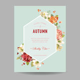 Vintage Autumn Watercolor Hortensia Flowers for Invitation, Wedding, Baby Shower Card stock illustration