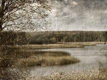 Vintage autumnal landscape royalty free stock photo