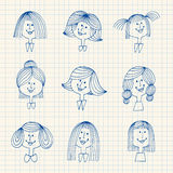 Vintage avatars doodles. Woman and girls hairstyles sketches royalty free illustration